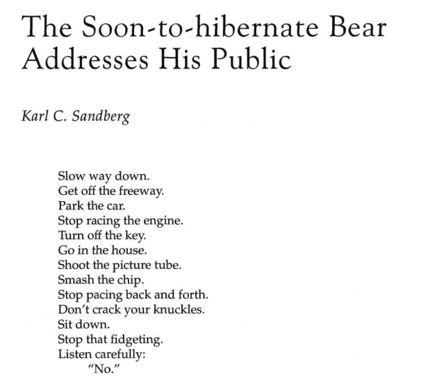 The Soon-to-hibernate Bear Addresses His Public