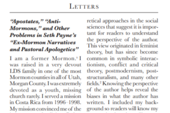 """Letter to the Editor: """"Apostates,"""" """"Anti-Mormons,"""" and Other Problems in Seth Payne's """"Ex-Mormon Narratives and Pastoral Apologetics"""""""