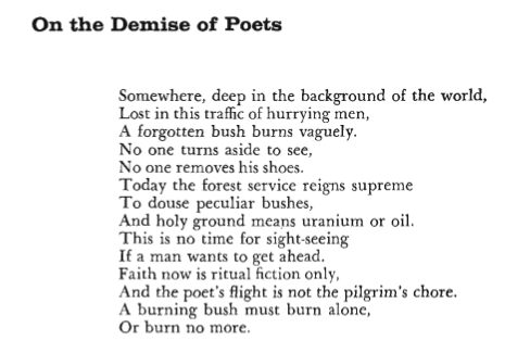 ON THE DEMISE OF POETS