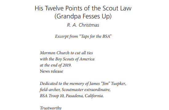 His Twelve Points of the Scout Law (Grandpa Fesses Up)